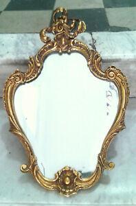 Ancien Petit Miroir Mural En Bronze Xixe Siècle