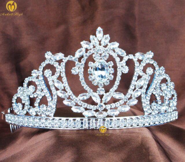 Princess Tiara w/ Hair Comb Austrian Rhinestone Hair Crown Wedding Prom Costumes