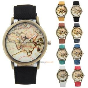 Vintage world map watch globe moving airplane watch unisex leather image is loading vintage world map watch globe moving airplane watch gumiabroncs Gallery