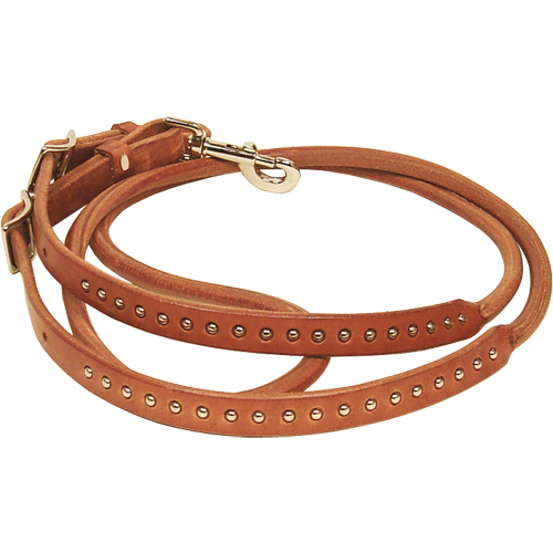 SCHUTZ BROTHERS HARNESS LEATHER ROUND CENTER ROPING REIN WITH SPOTS 709499HL