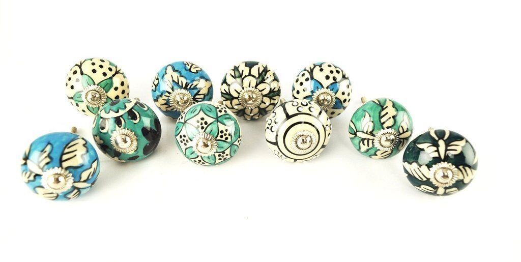 Ornate bluee Green Ceramic Drawers Knobs Door Cupboard Pulls only ships to USA