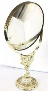 vintage-Beveled-magnifying-makeup-mirror-Standing-Ornate-Gold-Tone-Metal-CHERUB