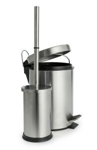Blue canyon stainless steel bathroom 3l pedal bin and for Bathroom bin and brush set