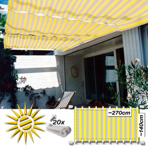 Seilspann marquise jaune crème CA 270x140 cm pergola complet set 20 laufhaken