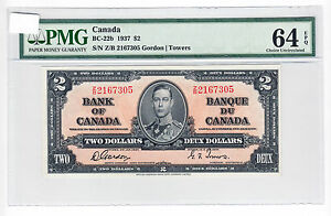 1937-Bank-of-Canada-2-Banknote-Gordon-Towers-Z-B-PMG-Choice-UNC-64-EPQ
