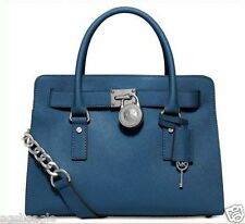 Michael Kors Bag 30S3SHMS3L MK Hamilton EW Leather Satchel Steel Blue Agsbeagle