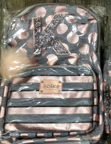 Justice Girls Rose Gold Foil Initial K Backpack Lunch Tote Bundle