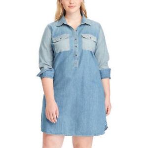 Details about CHAPS Women\'s Plus Size 2X Indigo Row Blue Denim Jean Shirt  Dress. NWT $96