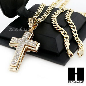 Mens iced out large cross pendant diamond cut cuban link chain image is loading men 039 s iced out large cross pendant aloadofball Gallery
