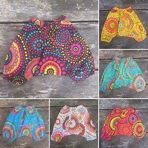 Chicas Chicos Bebe Haren Pantalones Sueltos Verano Hippy Hippie Boho Pantalones 3 8 Meses Ebay