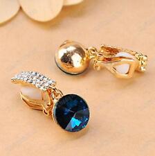 CLIP ON dark aqua blue CRYSTAL rhinestone DROP EARRINGS sparkly GOLD PLTD glass