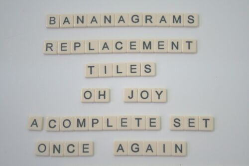 Bananagram Tiles Replacements Cream w Black Letters sold individually Plastic