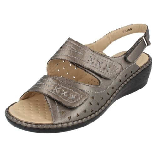 *SALE* Eaze F3109 Ladies Pewter Synthetic Wedge Sandals