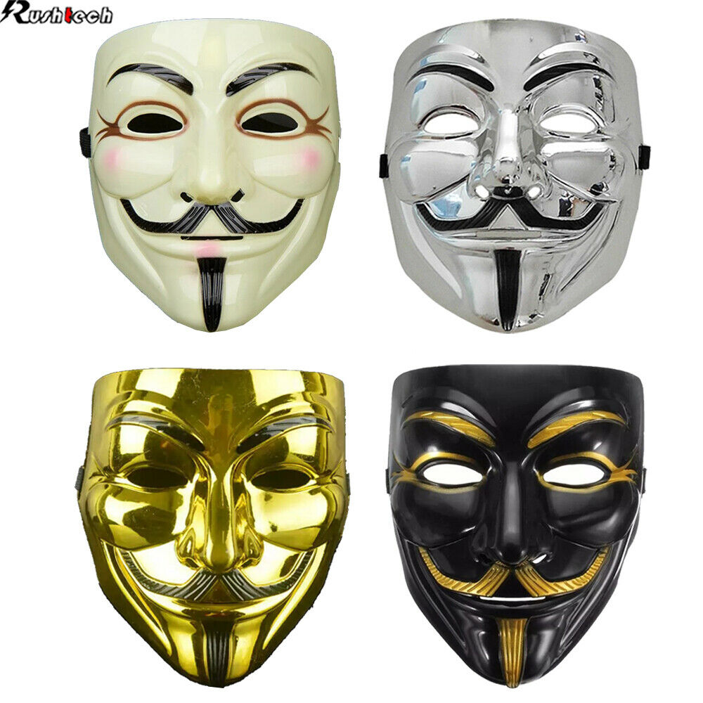 2//4PC Halloween Masquerade Face Mask V For Vendetta Guy Fawkes Fancy Dress Party