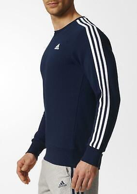 ADIDAS Essentials 3 Stripe Crew Ft NAVYWHITE MEN'S Felpa Maglione Top S _ M | eBay