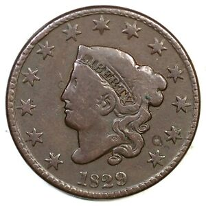 1829-N-5-R-3-Matron-or-Coronet-Head-Large-Cent-Coin-1c