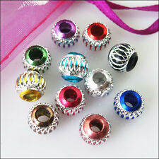 30Pcs Mixed Silver Carved Lantern Aluminium Spacer Beads Charms 6mm