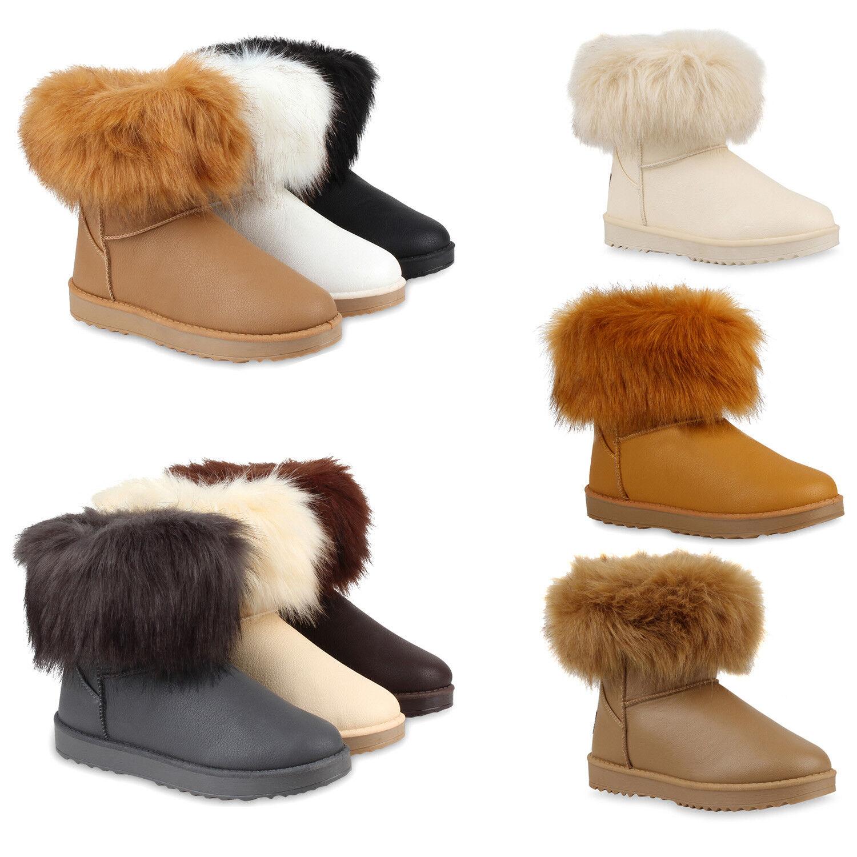 Warm Gefütterte Damen Schlupfstiefel Kunstfell Stiefeletten Stiefel 78519 Schuhe