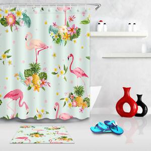 Image Is Loading Tropical Flamingo Shower Curtain Set Summer Bathroom Fabric