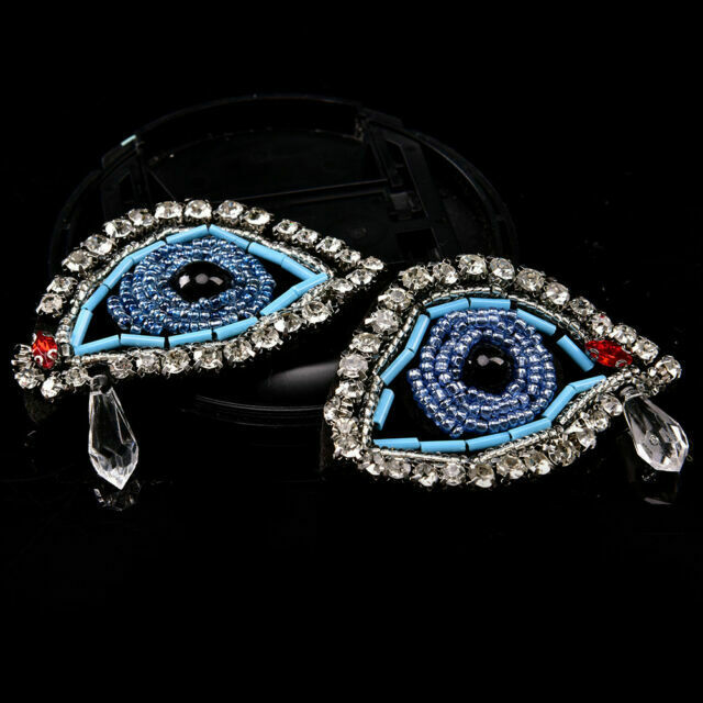 Small Gem Eye Panther Embroidered Iron On Appliques x 5