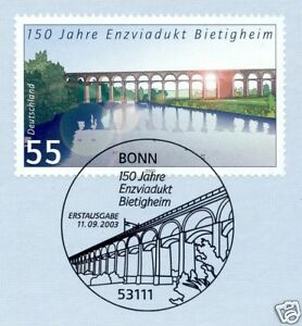 Bon CœUr Rfa 2003: Enzviadukt Bietigheim Nº 2359 Avec Bonner Ersttags Cachet! 1a 1609-l! 1a 1609fr-fr Afficher Le Titre D'origine