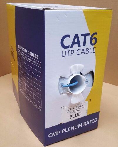 550Mhz 1000ft Cat6 Plenum Ethernet Solid Bulk Cable Blue Efficient Cables