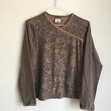 Columbia Sportswear XCO Womens Size Small Shirt Brown Black Long Sleeve Knit Top