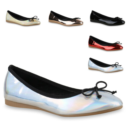 Damen Metallic Ballerinas Slipper Flats Leder-Optik Schuhe 814679 Trendy Neu