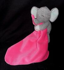 CARTER'S HOT PINK BABY ELEPHANT SECURITY BLANKET RATTLE STUFFED ANIMAL PLUSH TOY
