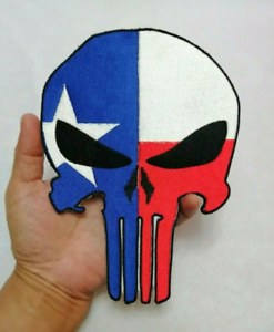 Skull Punisher Flag USA Scary Satan symbol Embroidered Iron-On Sew-on patches