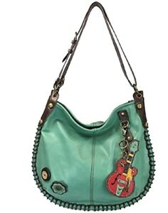 ee27083850be Details about Chala Purse Handbag Hobo Cross Body Convertible Teal Guitar  Bag