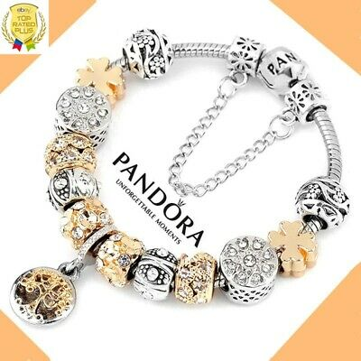 pandora charm bracelet silver and gold