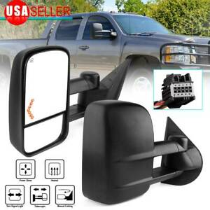 for 07-13 Chevy Silverado 1500 2500 3500 Tow Mirrors Power Heated LED Signal