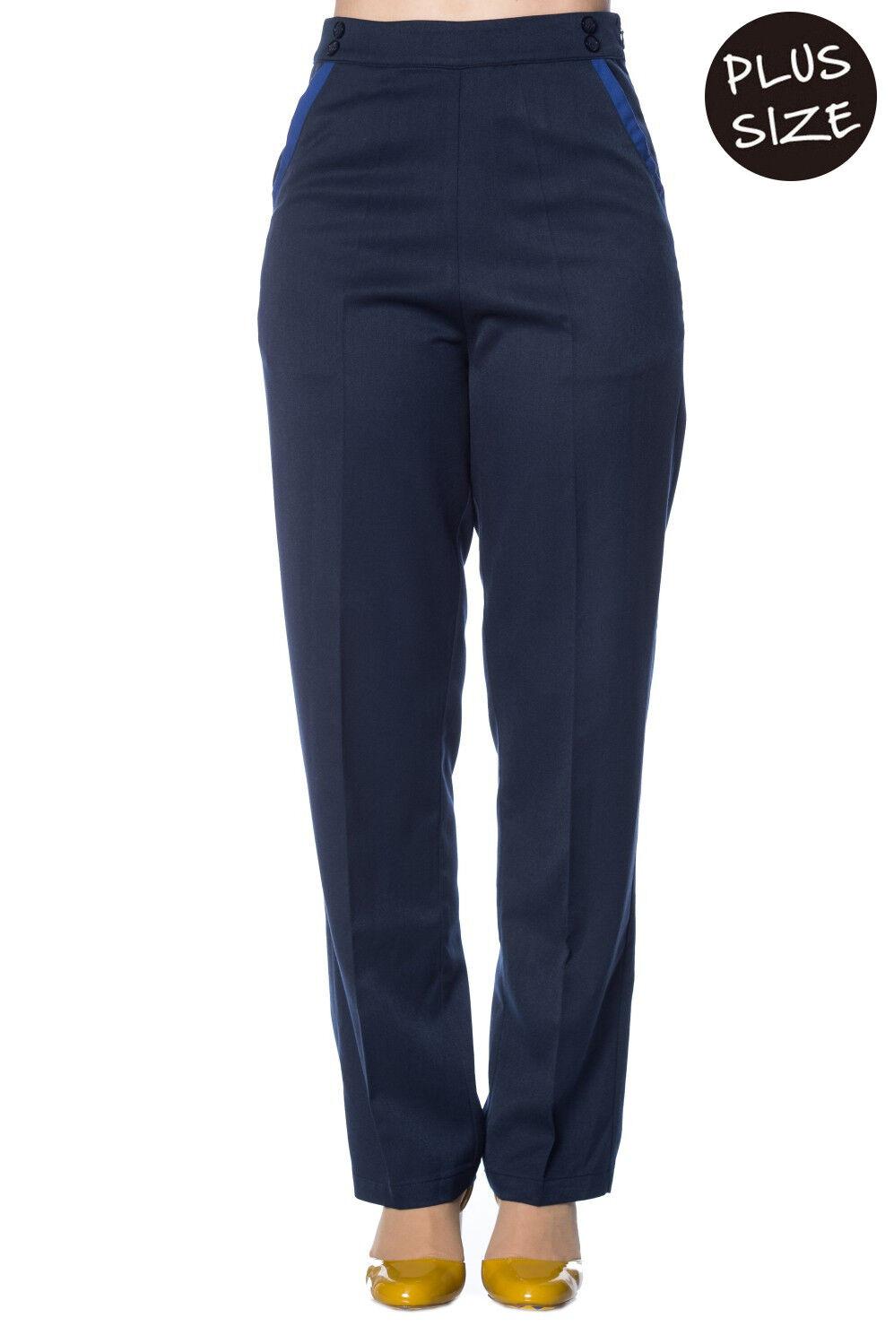 Blau Vintage Retro High Waist Contrast Trim PLUS Größe Trousers By Banned Apparel