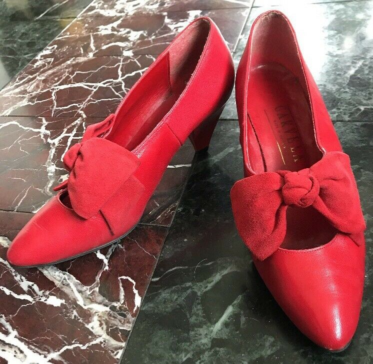 VTG 80s LADIES CARVELA ROT LEATHER SUEDE Schuhe PUMPS POINTED TOES UK 4.5 37 6.5