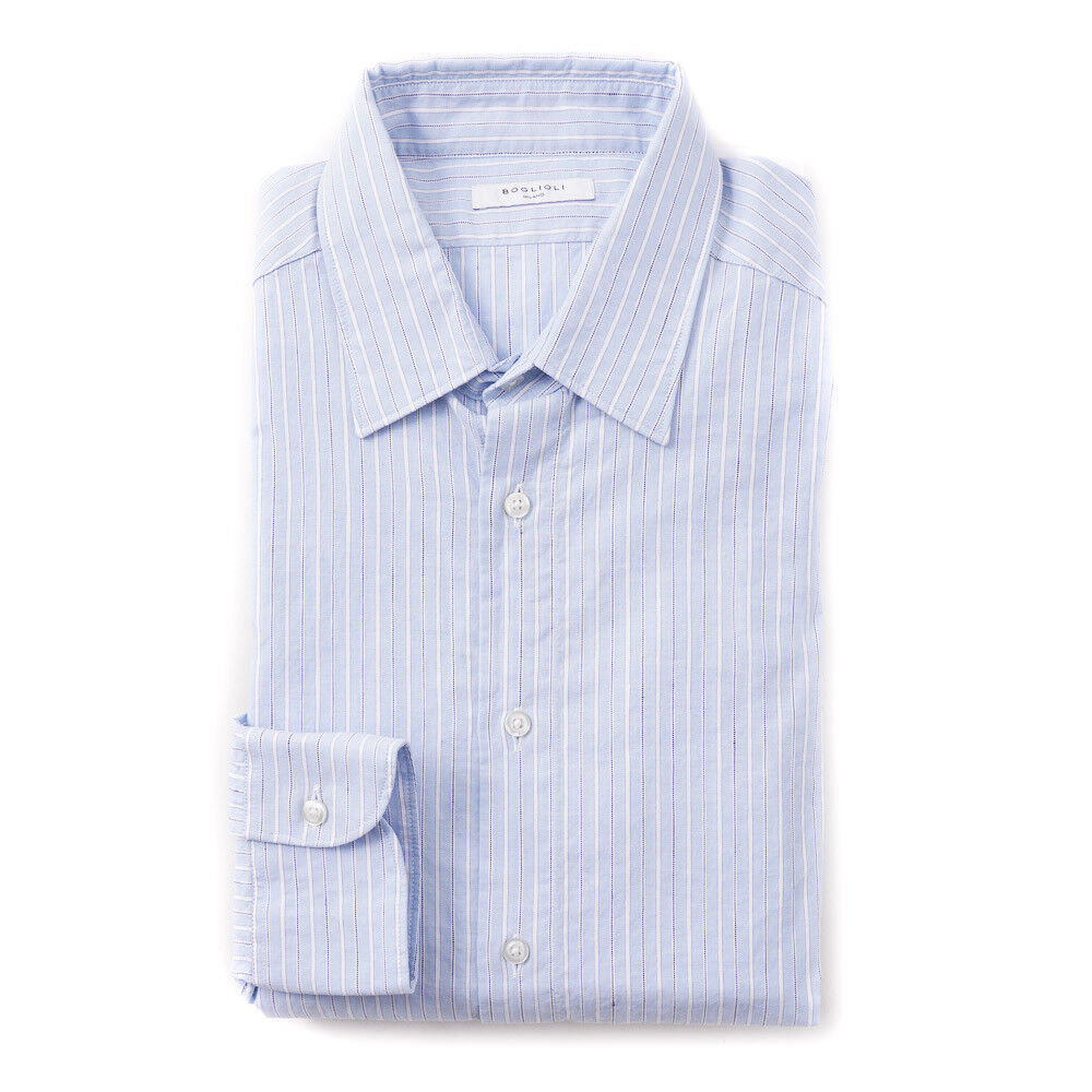 New 375 BOGLIOLI Slim-Fit Sky Blau Stripe Cotton-Linen Shirt 15.75 x 35