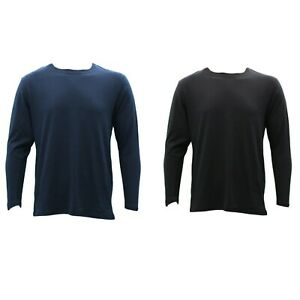 NEW-Men-039-s-Plain-Cotton-Crew-Neck-Long-Sleeve-Basic-T-Shirt-Tee-Top-Black-Navy