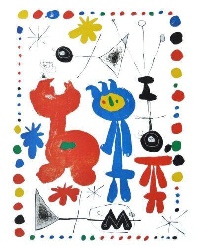 Joan Miro Personnage et oiseaux Poster Kunstdruck Bild 50x40cm