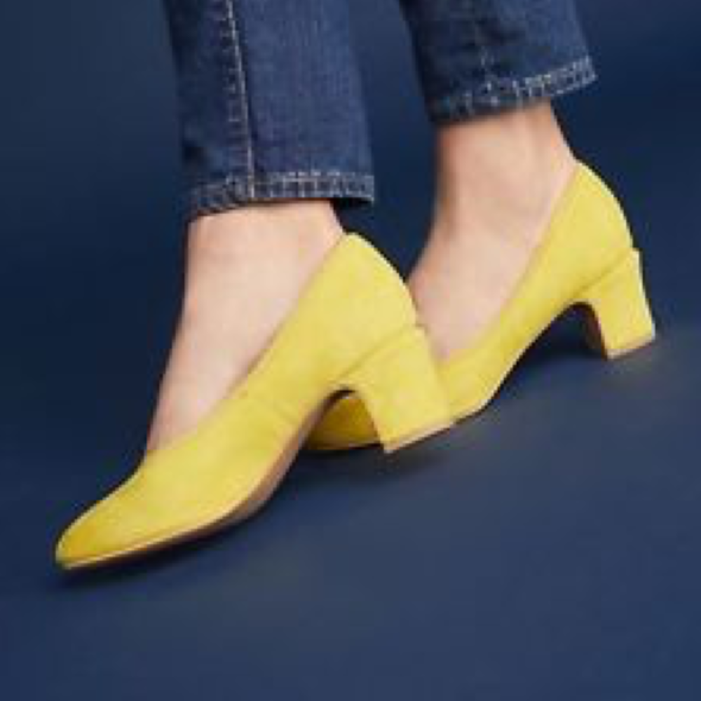 NIB NEW Suede Anthropologie Liendo Seychelles Heels Yellow Suede NEW Las Cruces Block f11525