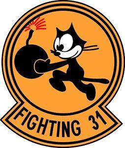 x2-Vinyl-Sticker-9x8cm-Felix-fighting-31st-laptop-military-tomcatters-world-war2