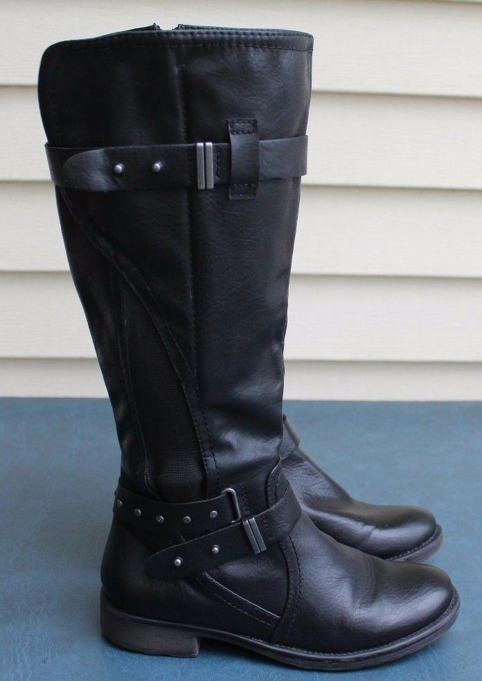 Bare Traps Sarala Womens Black Faux Leather Knee High Boots Size 7.5M