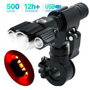 USB Rechargeable Bike Front Headlight Tail Light Set Waterproof Bicycle Light
