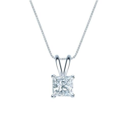 "1.75 Ct Princes Cut Brilliant Diamond Pendant Solid 14k White Gold 16/"" Necklace"