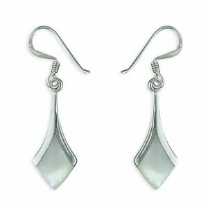 Sterling Silver Earring Diamond-Shaped Mother-Of-Pearl Drop New
