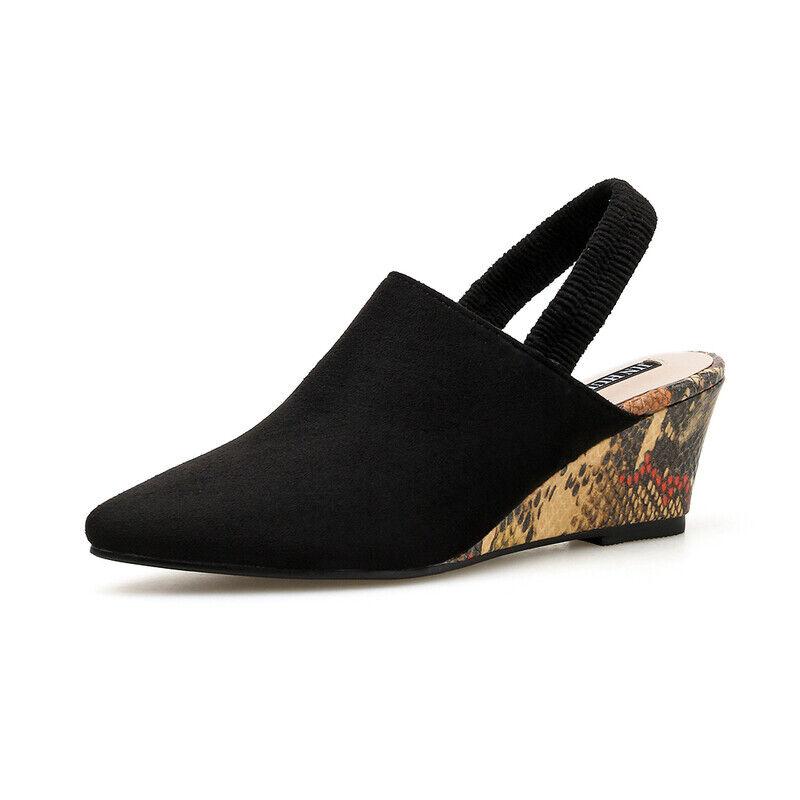 Ciabatte eleganti sandali sabot zeppa 7.5 cm negro eleganti pelle sintetica 1097