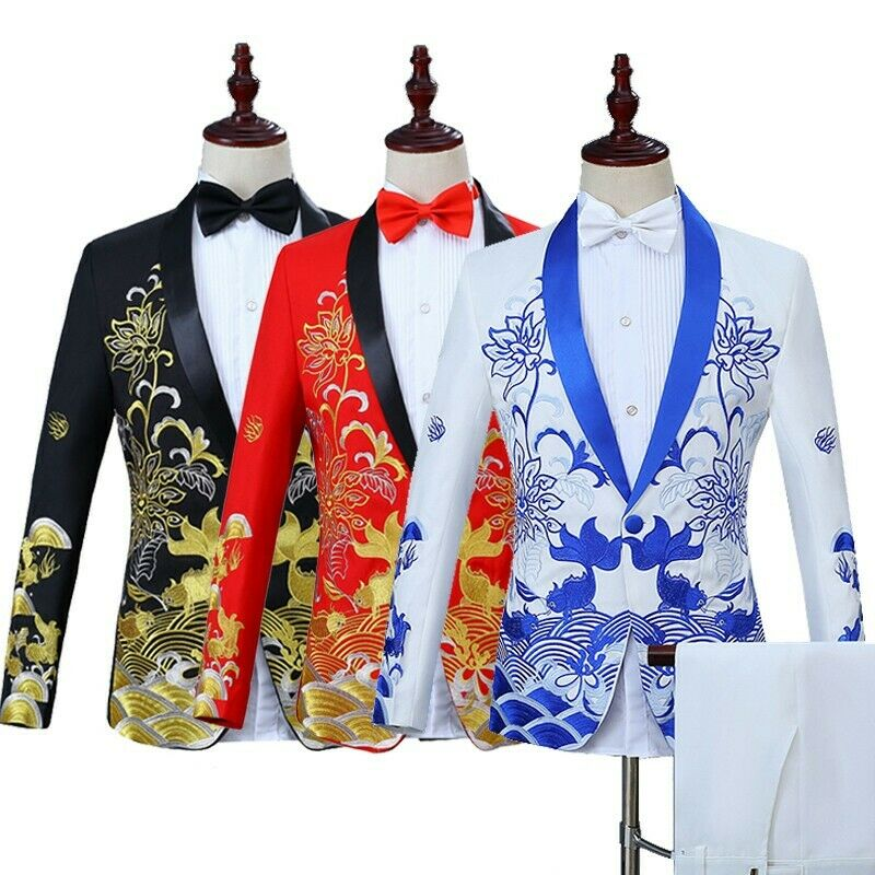 Mens Floral Lapel One Button Wedding Emcee Embroidery Coat+Pants Size M-3XL New