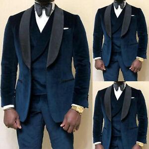 Velvet Men Suits Formal Prom Tuxedos Wedding Shawl Lapel Blazer Jackets Groom