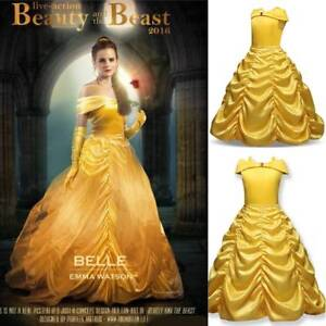 Girls-Princess-Dress-Beauty-and-the-Beast-Belle-Cosplay-Costume-Kids-Clothes-US