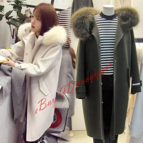 Lang Fur Blend Mode Outwear Hættejakke Kvinder Jakke Trench Størrelse Uld Frakke Collar qHfnSw4xC