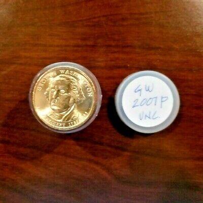 "Presidential Dollar Uncirculated Roll 25 /"" D /"" Mint # 1 2007 George Washington"